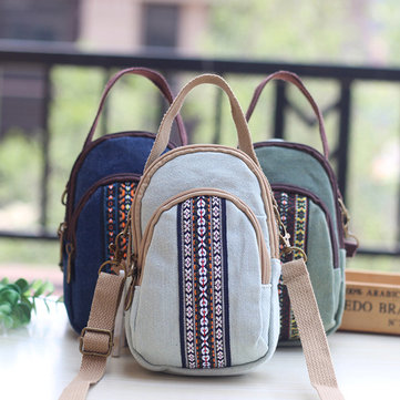 Women Canvas Leisure Crossbody Bag Print Double Layer Phone