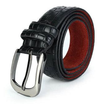 Men PU Leather Belt Retro Plaid Wild Casual Grid Pin Buckle Belt