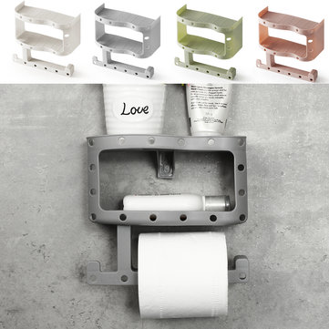 ₹439.99 Plastic Toilet Paper Tissue Roll Holder Phone Cup Rack Shelf Wall Mount Storage Hardware & Accessories from Tools, Industrial & Scientific on banggood.com
