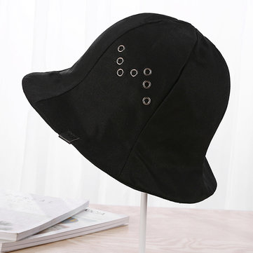 Unisex Womens Black Canvas Plain Bucket Hat Outdoor Double Layers Wide Brimmed Hat
