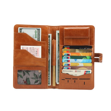 Epkhero Men Genuine Leather Vintage Long Wallet Clutch