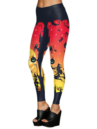 Sexy Halloween Women Printed Stretch Skinny Leggings