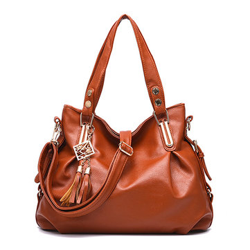 Women Faux Leather Tassel Soft Leather Handbag