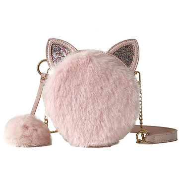 Women Pompom Cute Shoulder Bag Plush Small Round Bag