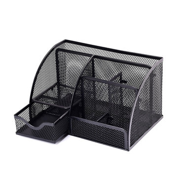 Mrosaa 7 Cell Metal Mesh Desktop Office Pen Pencil Holder Iron Desk Organizer School Supplies