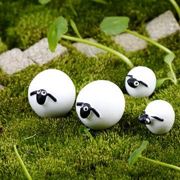 6x мини-овцы бонсай смолы сад миниатюрный сад феи террариум пейзаж