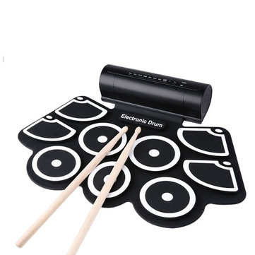 KONIX MD760 Silicon Electronic 9 Pad Roll Up Drum Support MIDI Game