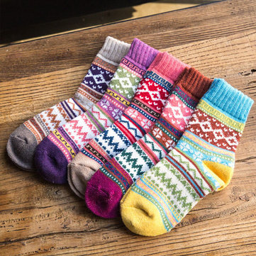 Colorful Multi Pattern Sock Women Gilrs Thickening Warm Wool Sweet Socks Wind Retro