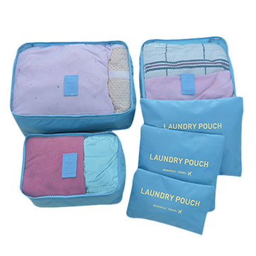 6 Pieces Travel Storage Bag Set Waterproof Clothes Underwear Bag Large Capacity Clothing Organizer