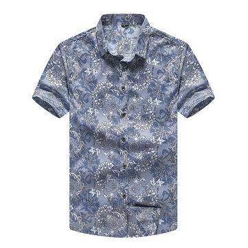 Mens Big Size XS-5XL Plaid Decorative Pattern Printing Short Sleeve Summer Fashion Casual Shirt