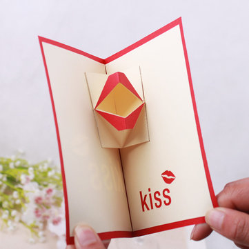 3D Pop Up Kiss Lip Merry Christmas Greeting Card Christmas Gifts Party Greeting Card