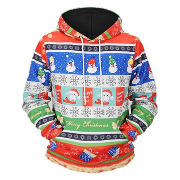 Mens Fashion Christmas Long Sleeve Hooded Cartoon Printing Casual Sweatshirt