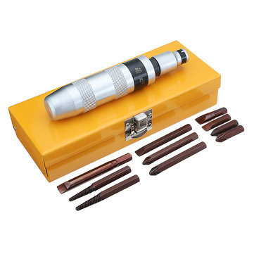 12Pcs Multi-purpose Impact Screwdriver Set Screw Removal Tool with Iron Box