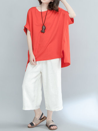 Casual Loose Women Pure Color Half Sleeve High-Low T-shirts
