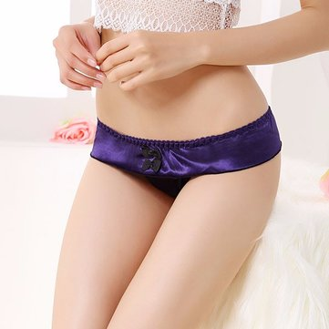 Sexy Smooth Color Patchwork Low Waist Bow G-String Panties For Women