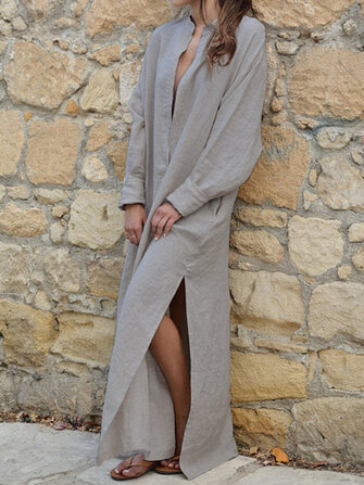 Women V-neck Long Sleeve Side Split Loose Kaftan Dress
