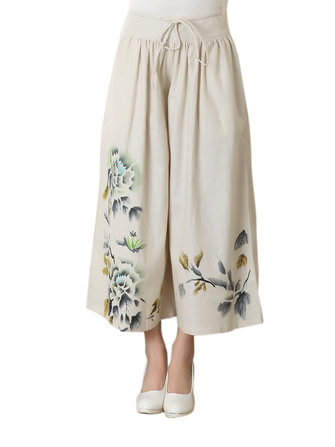 Casual Elastic Waist Floral Printing Wide Leg Pants For Women