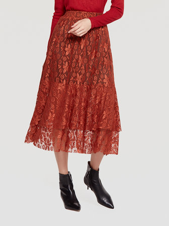Elegant Lace Layered Pleated Elastic Waist Skirts