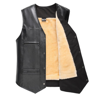 Mens FLeece Liner Winter Warm Black Faux Leather Vest Business Casual Sleeveless Waistcoat