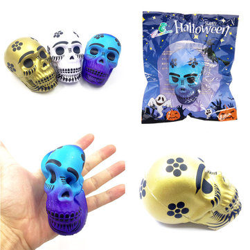 Halloween Squishy Skull Skeleton Head 10cm Halloween Decor Slow Rising With Packaging Gift Toy