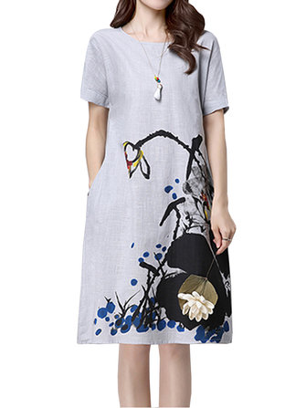 Casual Women Brief Summer Ink Printing Pocket A-line Dress