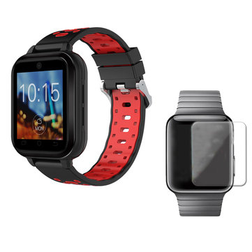 FINOW Q1 Pro Black Red 4G 1+8G GPS WIFI IP67 Waterproof Smart Watch + 40mm HD Tempered Glass Watch Screen Protector