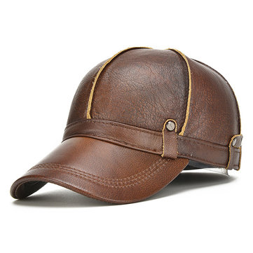 Mens Genuine Leather Warm Baseball Cap With Ears Flaps Adjustable Thickened Vintage Hat