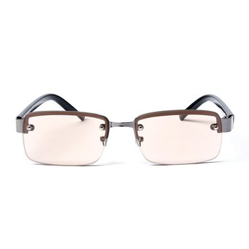 Perforated Half Frame Brown And White Crystal Reading Glasses Comfortable To Wear