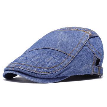 Men Women Vintage Denim Adjustable Beret Cap Cotton Hat