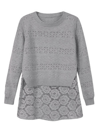Women Lace Stitching Hollow Out Fake Two-piece Loose Knitted Pullover Sweater