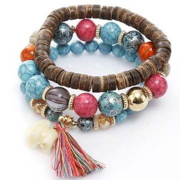 Bohemian Multi-Layer Wooden Tassels Bracelet Cutely Elephant Beaded Bracelet