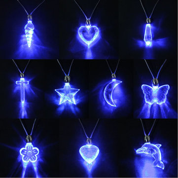 LED Blue Magnetic Light Charm Pendant Necklace Gift Xmas Birthday