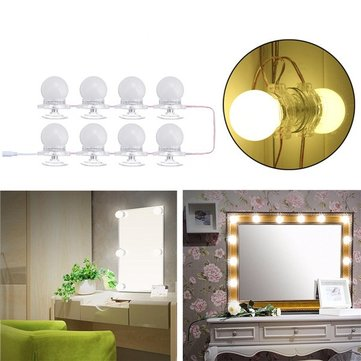 8Pcs Makeup Mirror Vanity LED Light Bulbs LED Gadgets Kit for Dressing Hollywood Super Star