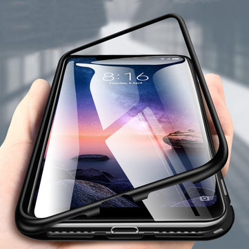 Bakeey 360° Magnetic Adsorption Metal Tempered Glass Flip Protective Case for Xiaomi Redmi Note 6 Pro
