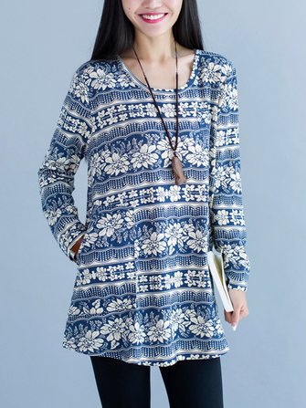 Vintage Printing Long Sleeve Loose Women Mini Dress
