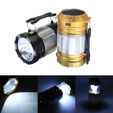 5 LED Camping Tent Lantern Solar USB Rechargeable Emergency Flashlight Torch