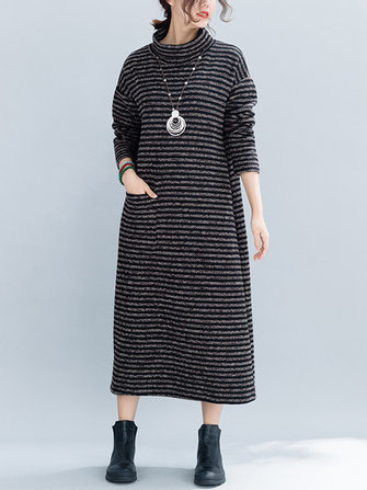 Women Winter Stripe Turtle Neck Long Sleeve Knit Dress