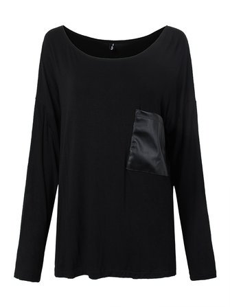 Casual Loose Women Black Long Sleeve Leather PU Patchwork T-Shirt