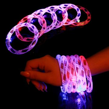 24pcs/lot Multicolor LED Flashing Bracelet Light Up Acrylic Bangle for Party Bar Halloween Christmas