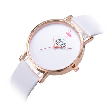 Casual Style Women Wrist Watch Rose Gold Case Leather Strap Quartz Watch