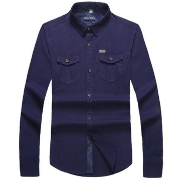 Mens Casual Cotton Washed Shirts Slim Fit Lapel Long Sleeve Work Dress Shirts 4 Color