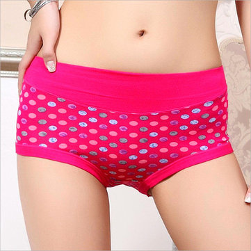 Women Printing Polka Dot Panties Breathable Soft Mid Waist Underwear