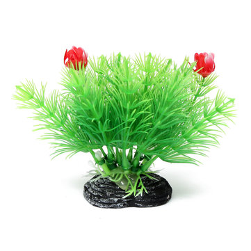Aquarium Fish Tank Artificial Plant Grass With Two Flowers Aquarium Decor