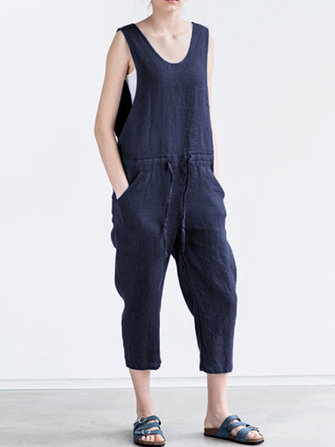Womens Sleeveless Belted Denim Rompers Solid Jumpsuit