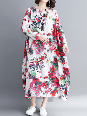 Vintage Floral Printed O-Neck Long Sleeve Long Dress