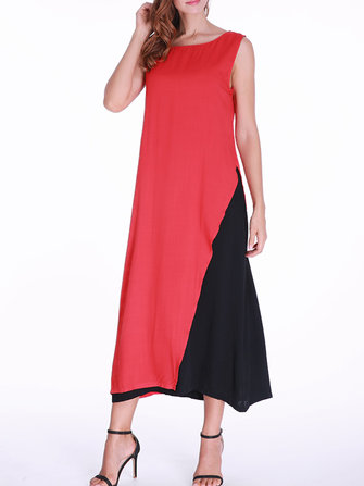 Women Layered Hem Sleeveless Patchwork O-Neck Dress