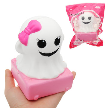 YunXin Pink Girl Ghost Doll Halloween Squishy 4*9cm Slow Rising With Packaging Collection Gift Soft Toy