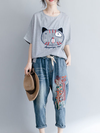 Women Cartoon Cat Print Short Sleeves Blouse
