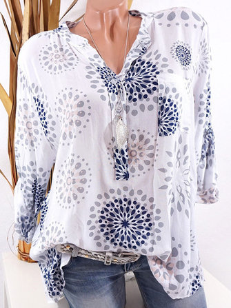 Women Plus Size Casual Print V-neck Long Sleeves Blouse