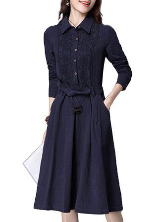 Старинные кружева лоскутное плиссированные длинным рукавом туники пояса платья женщин